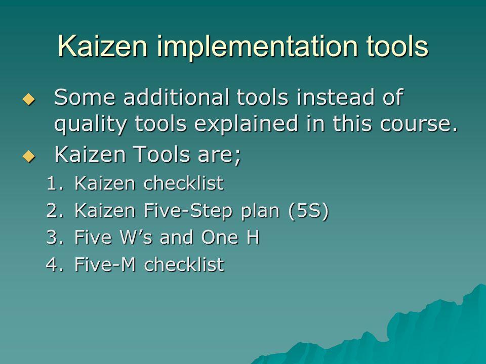 Kaizen implementation tools