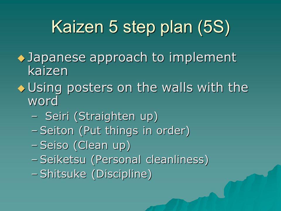 Kaizen 5 step plan (5S) Japanese approach to implement kaizen