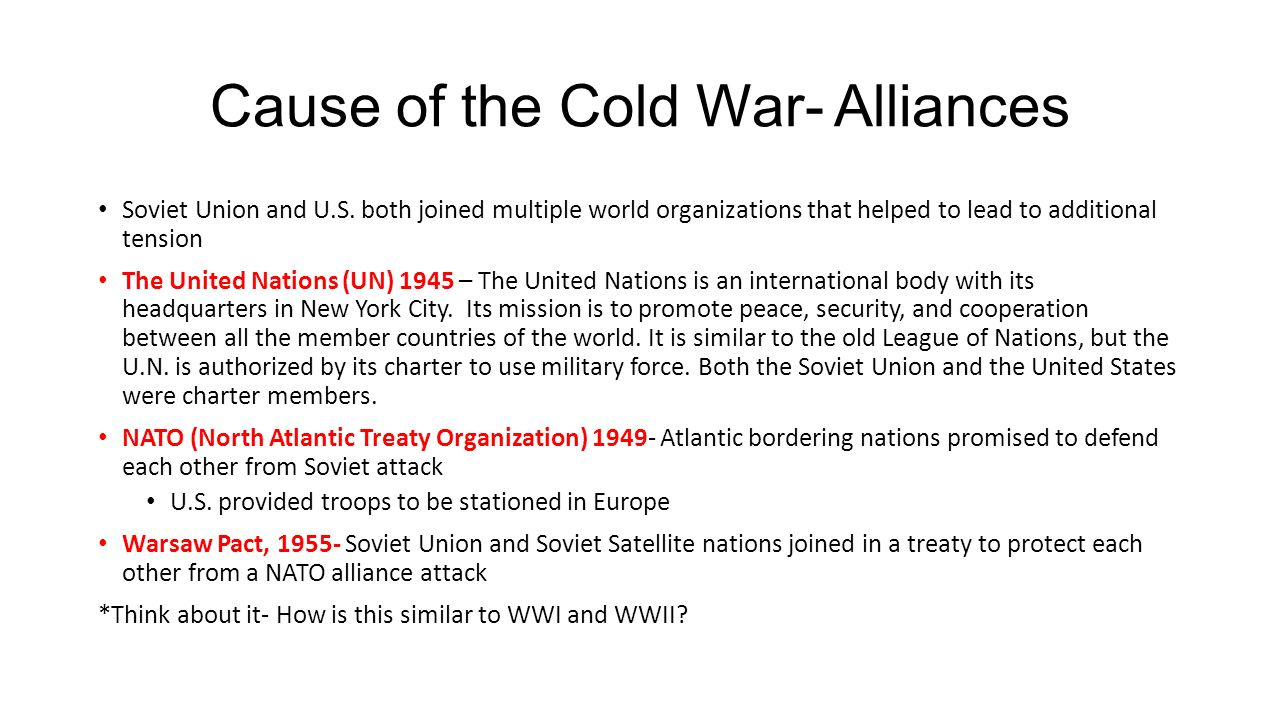 the cause of the cold war between the united states and the soviet union Who caused the cold war, the us or the soviet union update  was the soviet union as paranoid as the united states during the cold war  stalin cause the cold war.