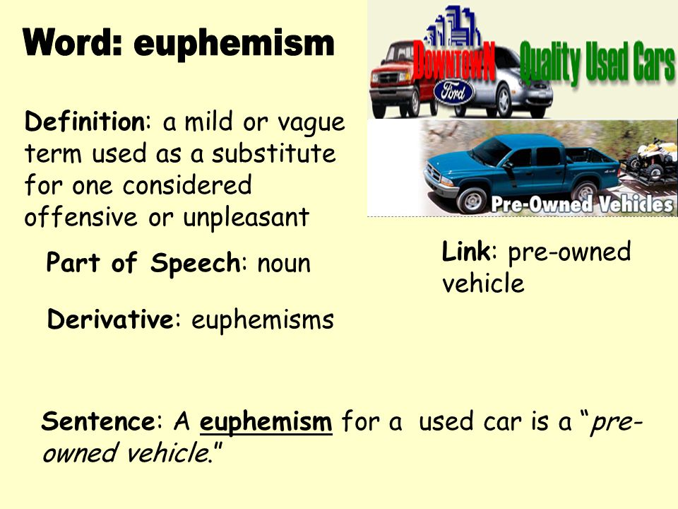 High Quality Word: Euphemism Definition: A Mild Or Vague Term Used As A Substitute