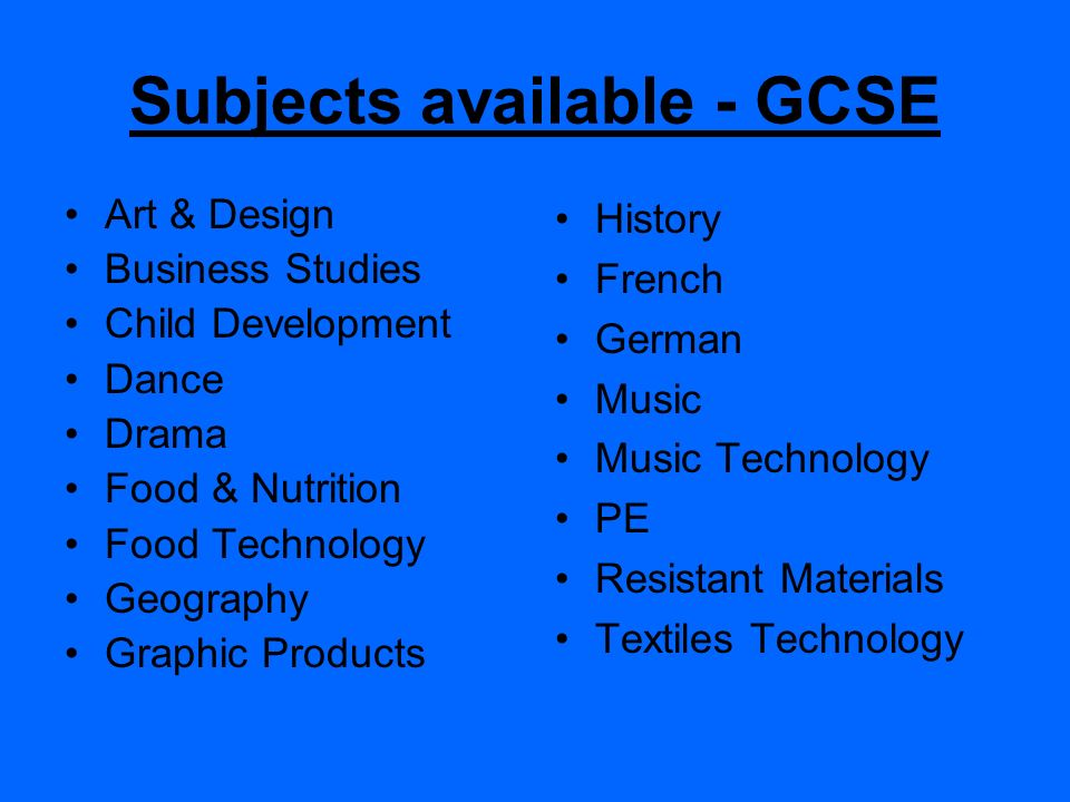 Subjects available - GCSE