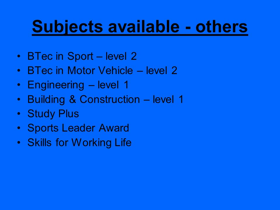 Subjects available - others