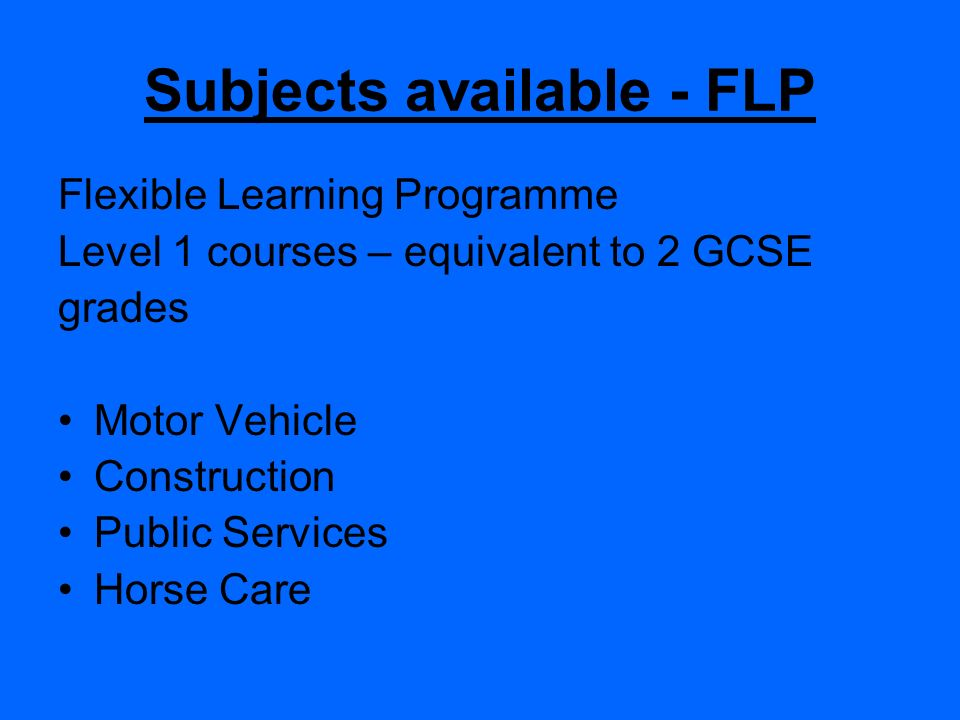 Subjects available - FLP