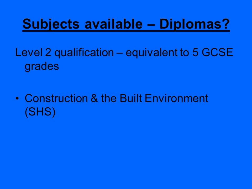 Subjects available – Diplomas