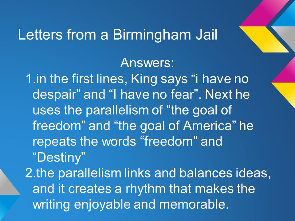 letter from birmingham jail essay questions Free letter from a birmingham jail papers, essays, and research papers.
