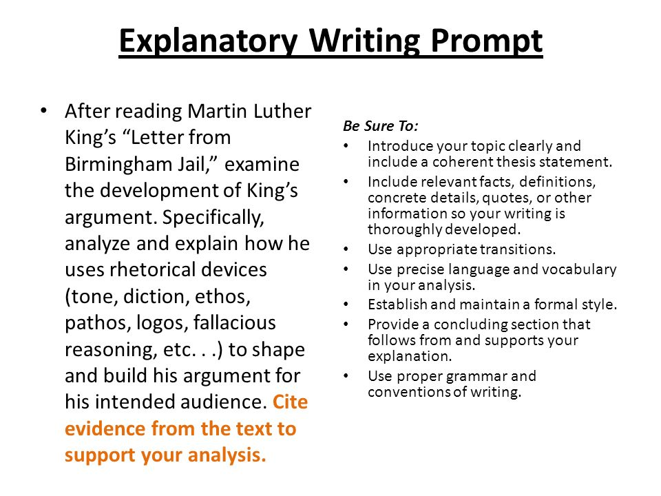 "explanatory writing prompt ppt video online  1 explanatory writing prompt after reading martin luther king s ""letter from birmingham jail"