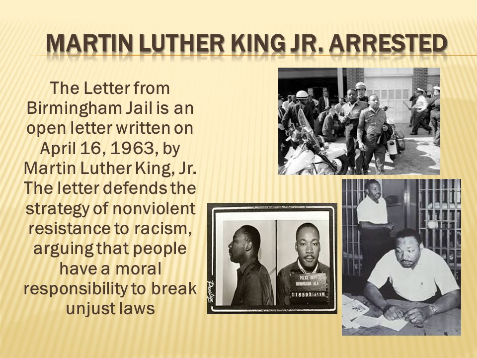 comparing martin luther king jrs letter from The letter from a birmingham jail was written by martin luther king jr they both had similarities and differences there were injustices that were done wrong to each of them by others in the society in which they both lived.
