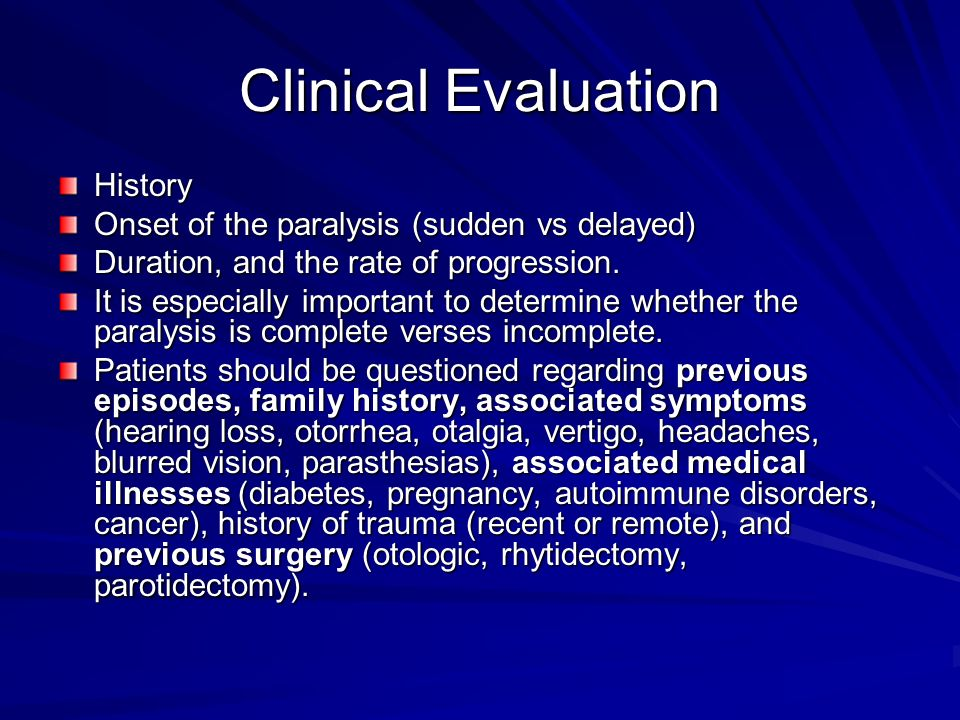 Clinical Evaluation History Onset of the paralysis (sudden vs delayed)