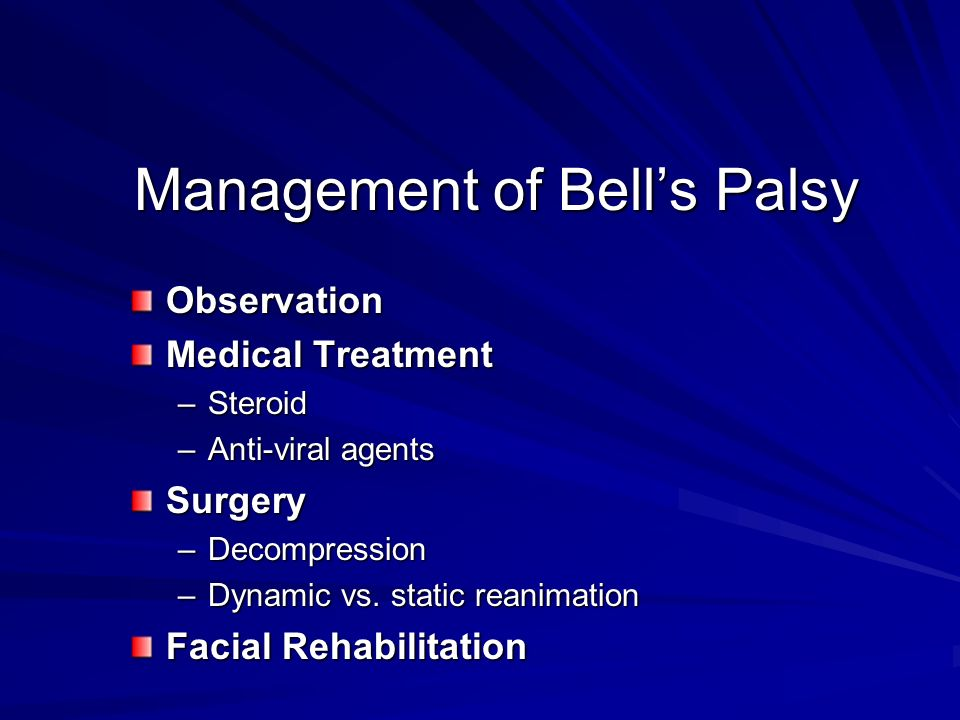Management of Bell's Palsy