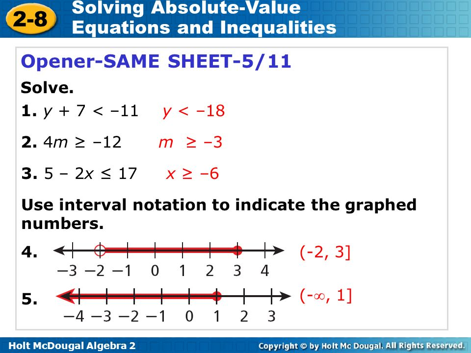 2 8 solving absolute value equations and inequalities warm up ppt video online download. Black Bedroom Furniture Sets. Home Design Ideas