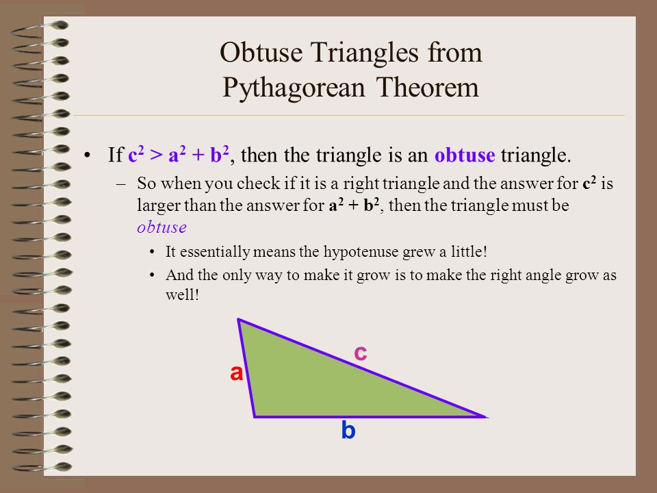 triangles and pythagorean theorem This free online geometry calculator will use the pythagorean theorem to solve for the missing length of a right triangle given the lengths of the other two sides.