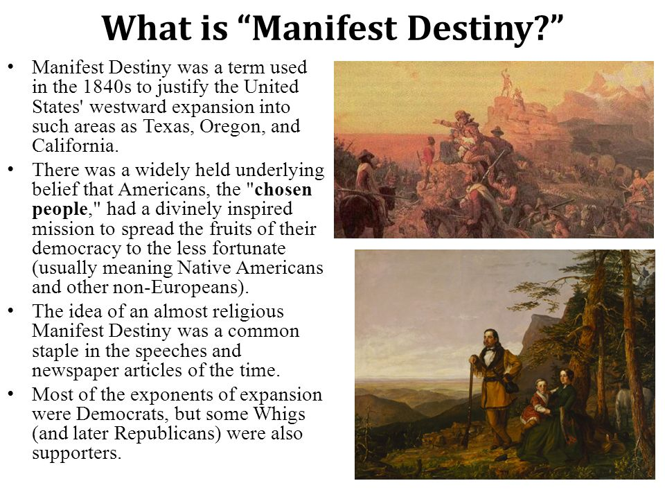 an introduction to the manifest destiny Manifest destiny: a player's introduction in manifest destiny each of from3-to-5playersrunsamercantileempire duringthree differenteras,starting onthe east coast of north america, then expand-.