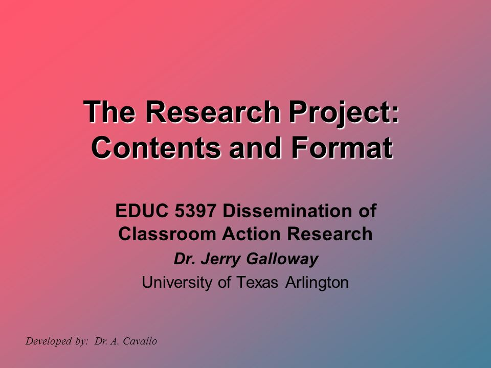 research project format