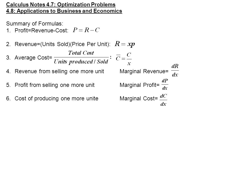 cost revenue and profit functions pdf