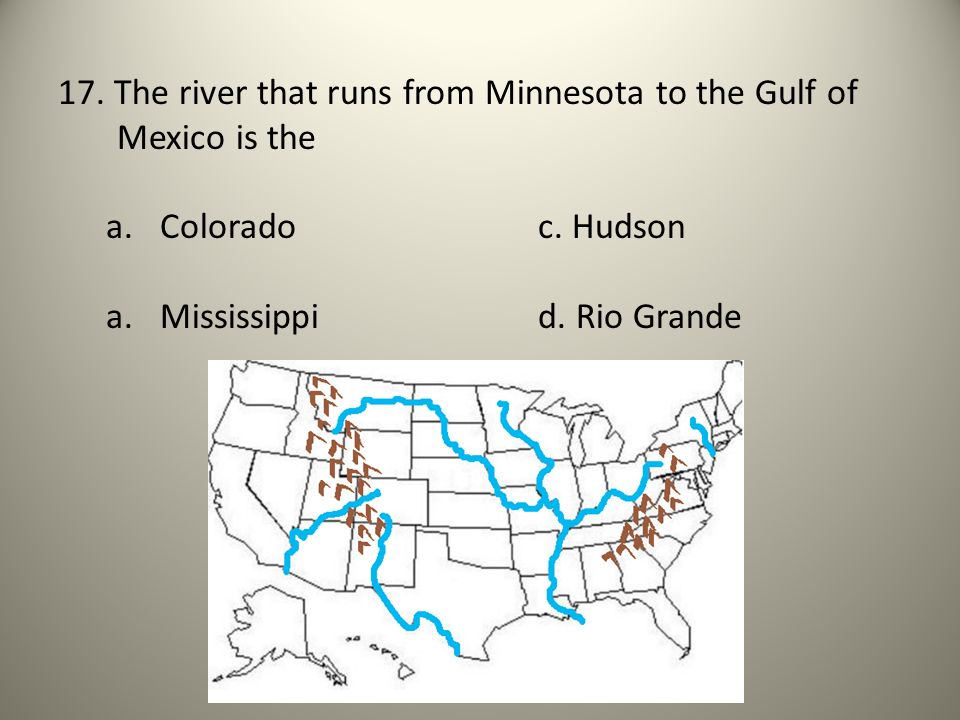 17. The river that runs from Minnesota to the Gulf of