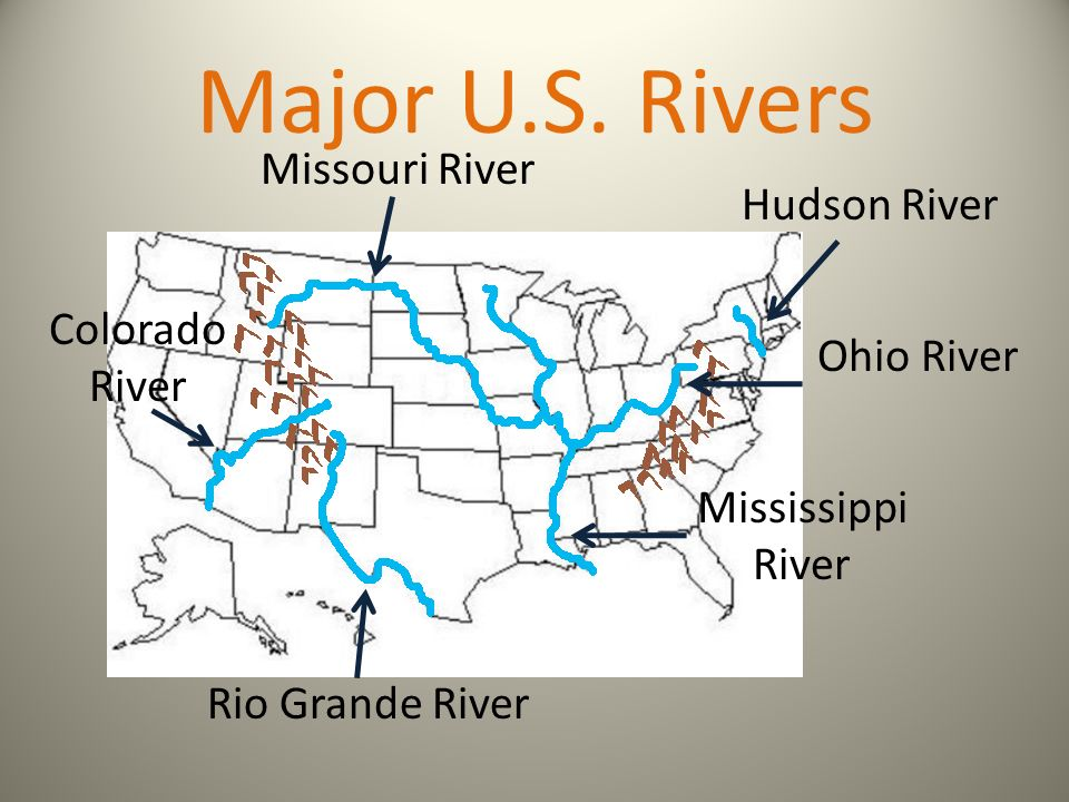 Major U.S. Rivers Missouri River Hudson River Colorado River