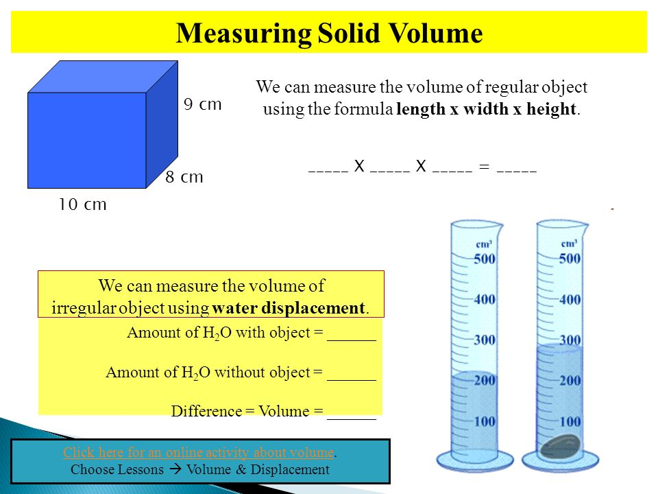 This slide show has been prepared under fair use exemption of the – Volume by Water Displacement Worksheet