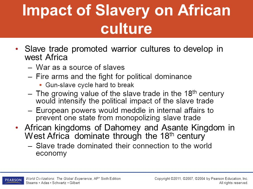the impact of slavery on african Slavery was not new to africa traditionally, slavery was used as a punishment for serious crimes however, although slavery was a punishment for criminals.