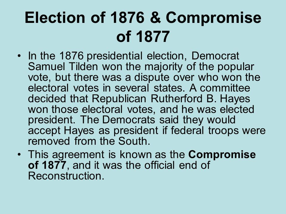 compromise of 1877 Click here 👆 to get an answer to your question ️ what were the results of the compromise of 1877a slavery was allowed in newly added states b slavery was.
