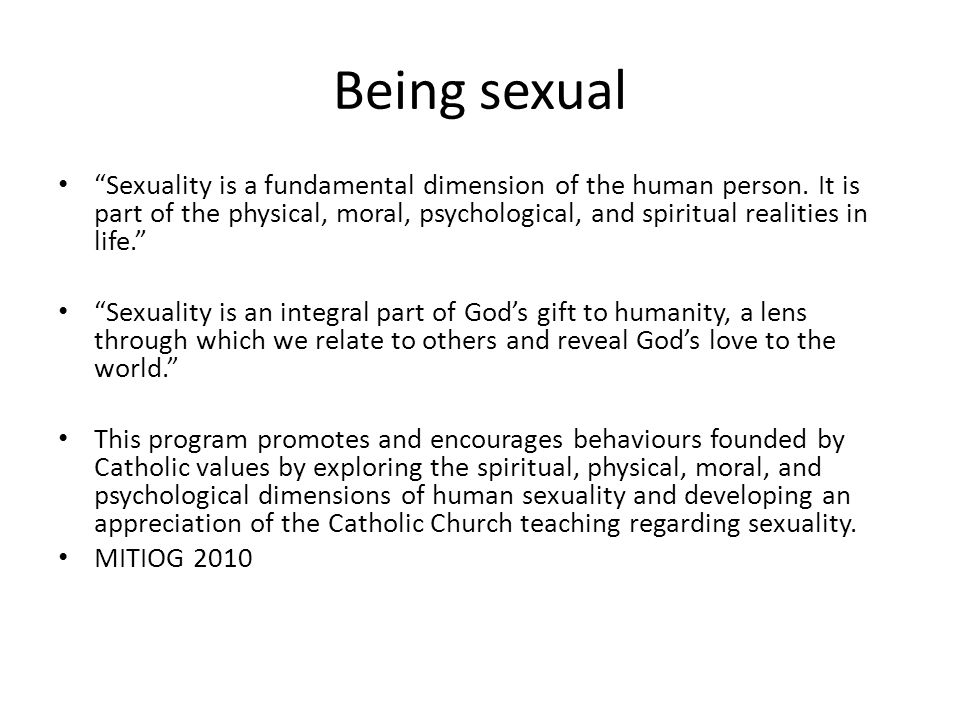 Psychological Dimension Of Human Sexuality