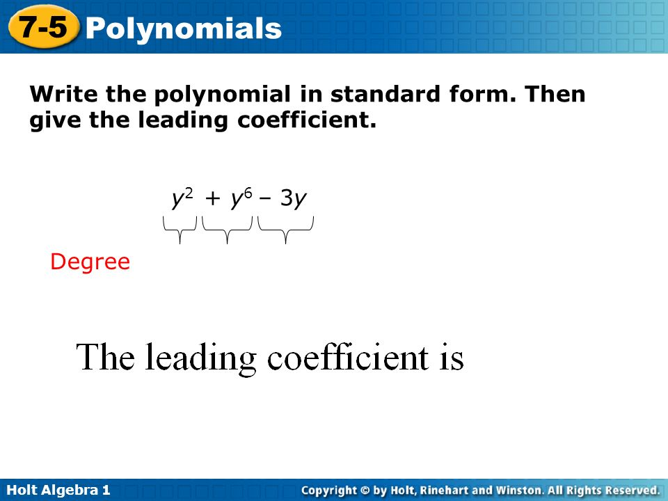 write polynomial in standard form Free practice questions for precalculus - express a polynomial as a product of linear factors includes full solutions and score reporting.