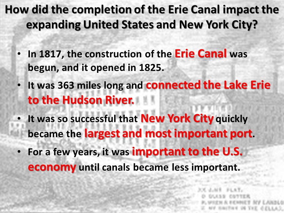 How did the completion of the Erie Canal impact the expanding United States and New York City