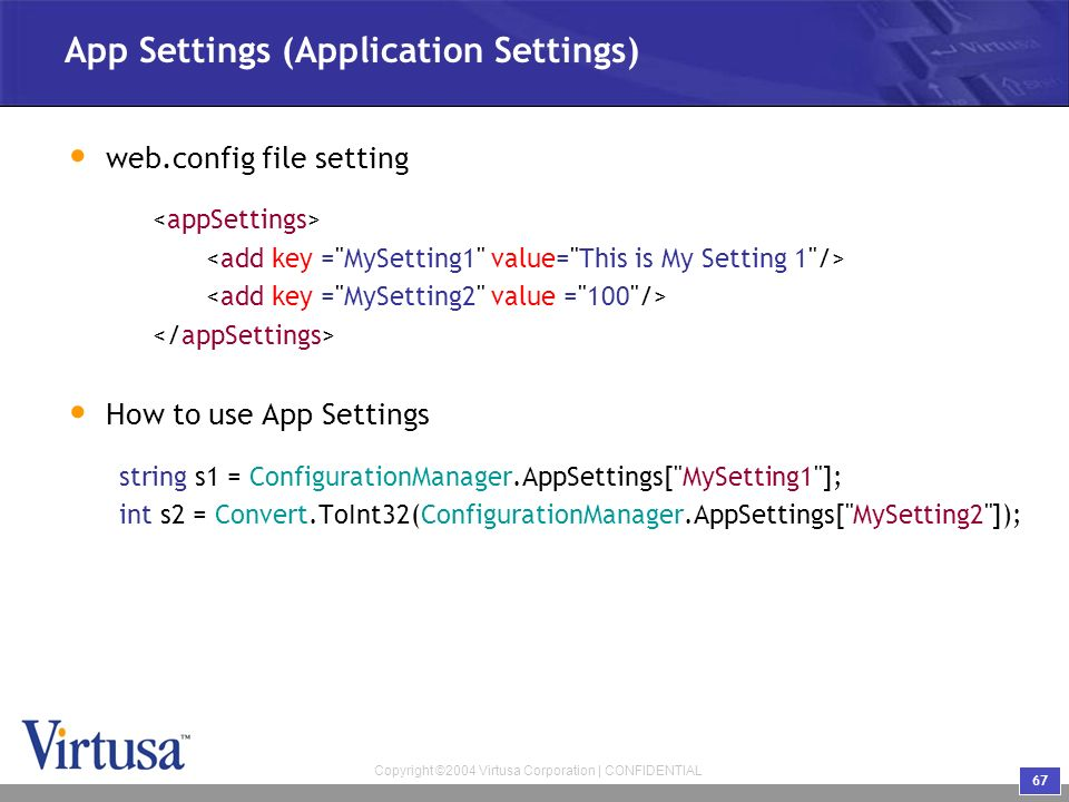 how to add key in app config