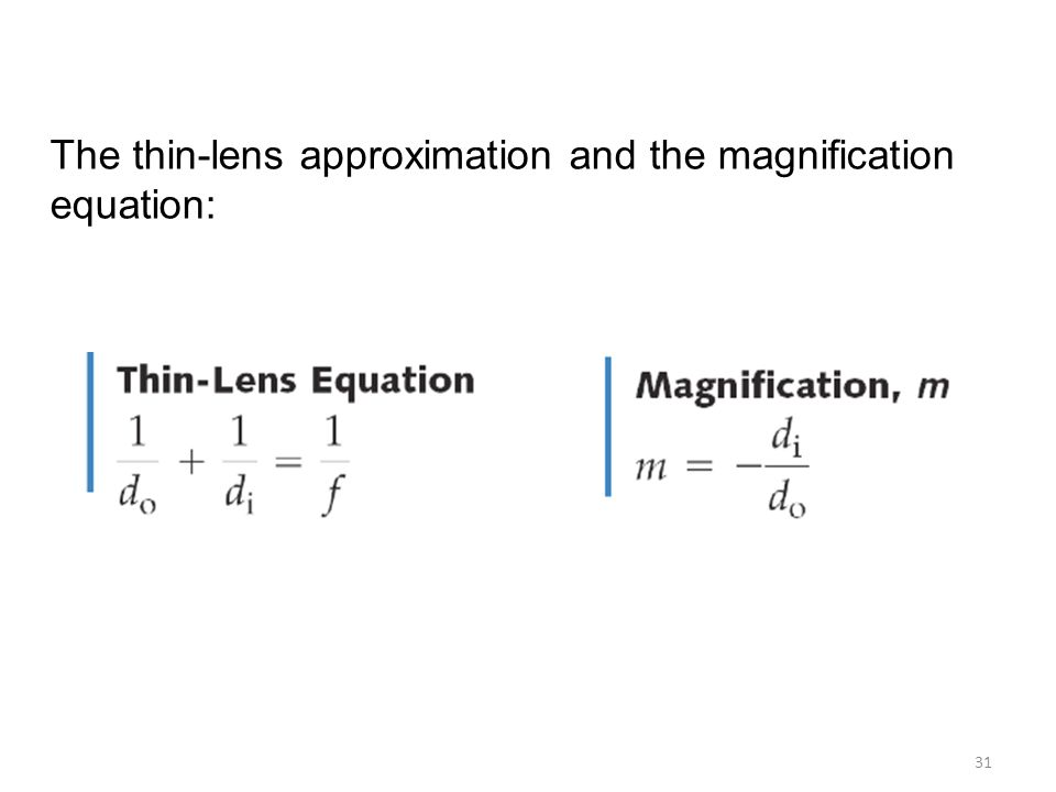 thin lens and magnification equation pdf