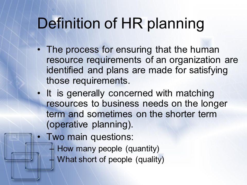 human resource planning process in an organization pdf