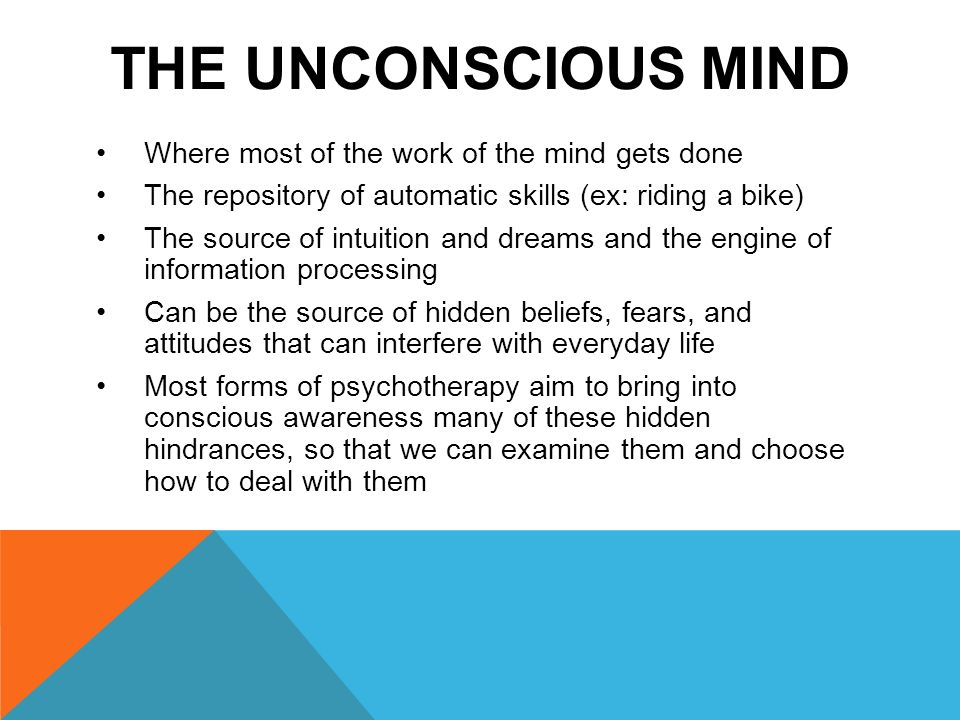 the unconscious process A mental process that you are not directly aware of.