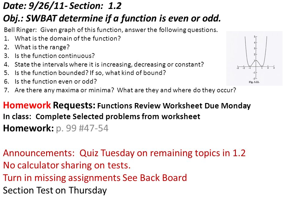 Obj SWBAT determine if a function is even or odd ppt download – Even and Odd Functions Worksheet