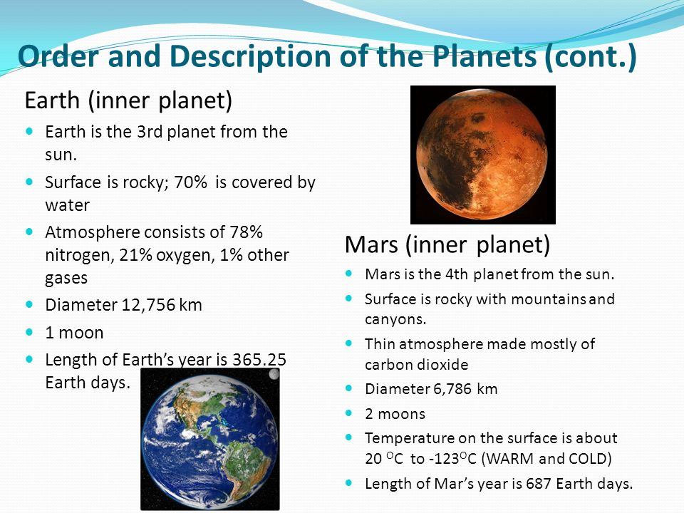 a description of planet earth 2 often earth the third planet from the sun, having a sidereal period of revolution about the sun of 36526 days at a mean distance of approximately 1496 million.