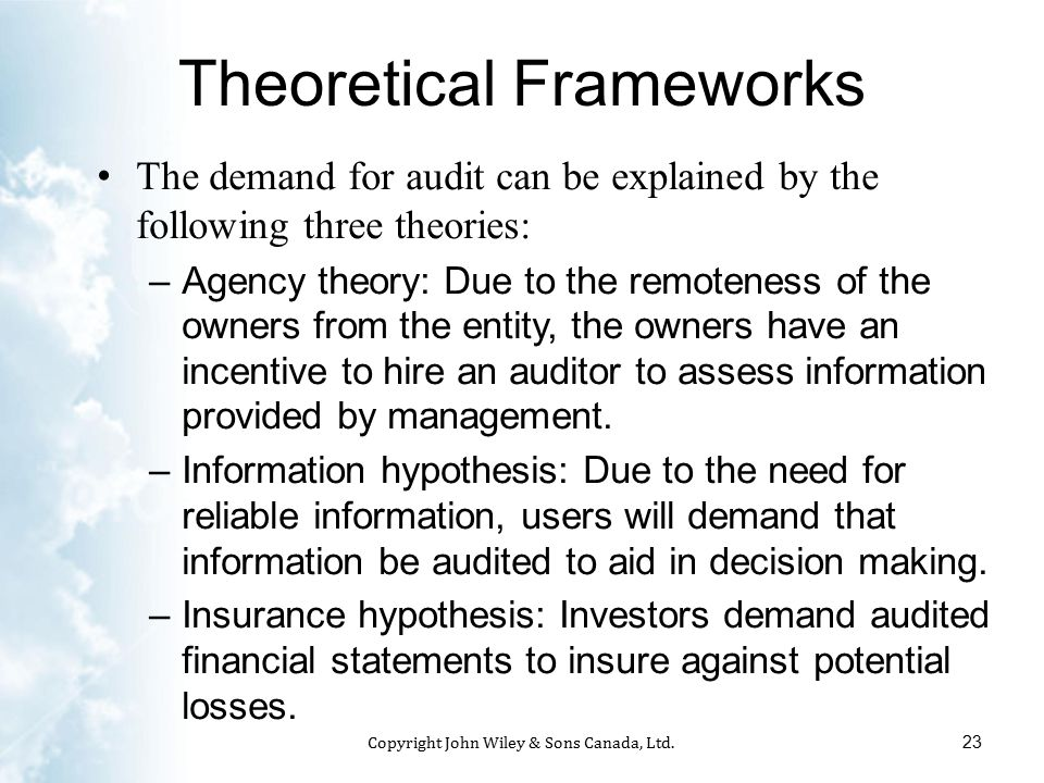theories of demand for audit An introduction to auditing and assurance  this book puts the theory and philosophy first because they are, after all, the foundations of audit practices the.