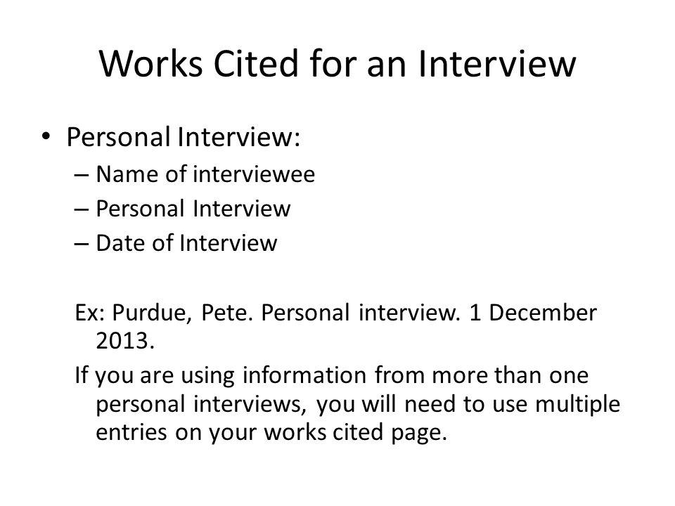 works cited mls