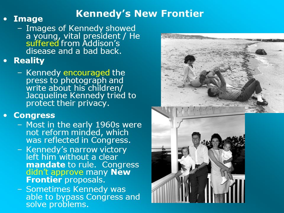 kennedys new frontier John f kennedy's famous new frontier speech in which he offers a nascent version of the indelible ask not line of his inaugural address.