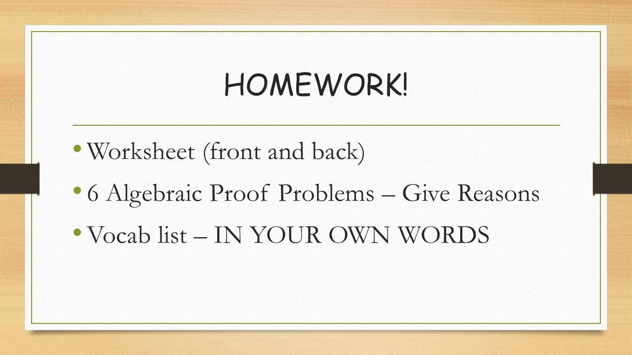 Algebraic Proofs ppt download – Algebraic Proofs Worksheet