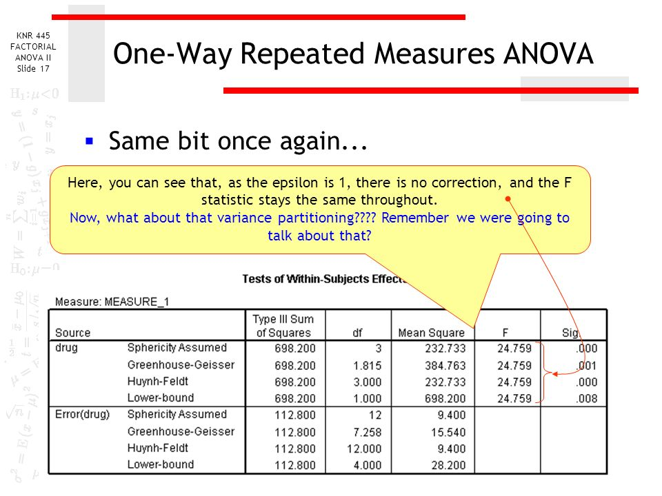 one way repeated anova Repeated measures anova with spss one-way within-subjects anova with spss one between and one within mixed design with spss repeated.