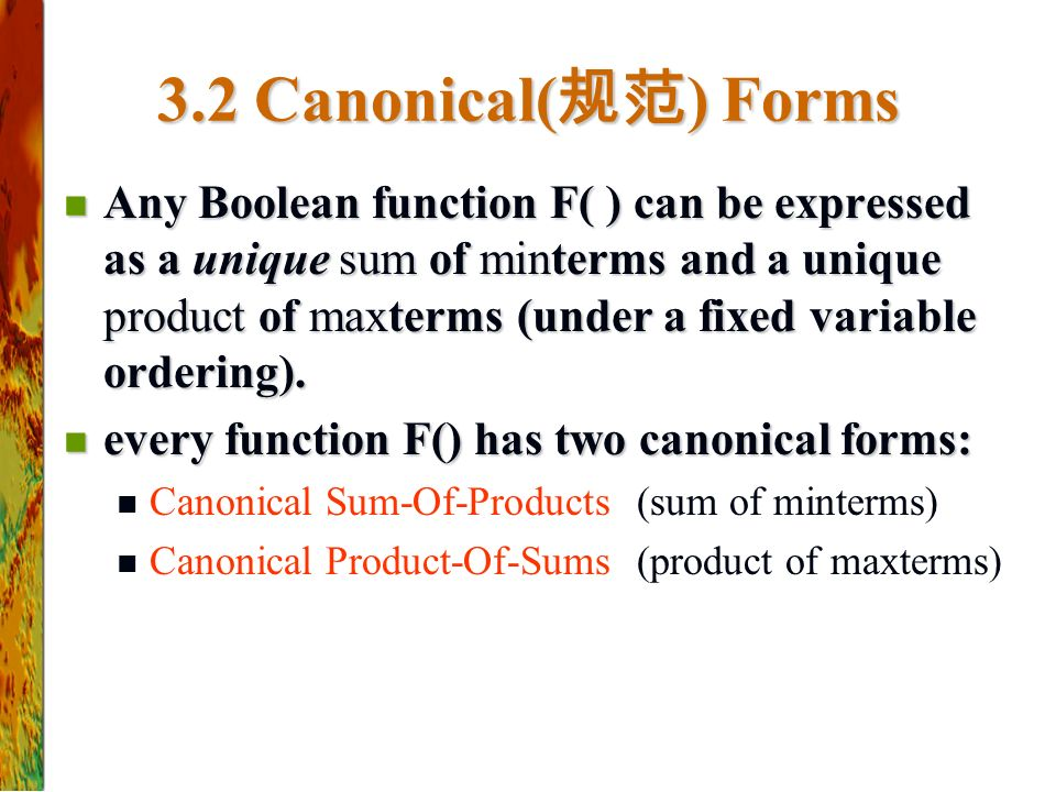 3.2 Canonical(规范) Forms