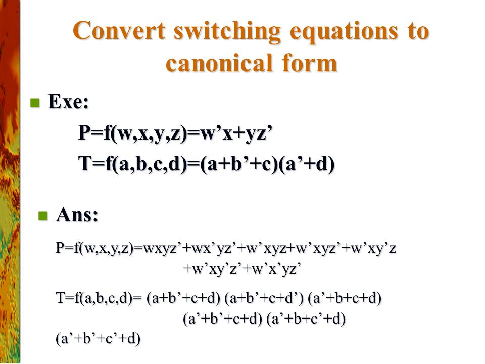 Convert switching equations to canonical form