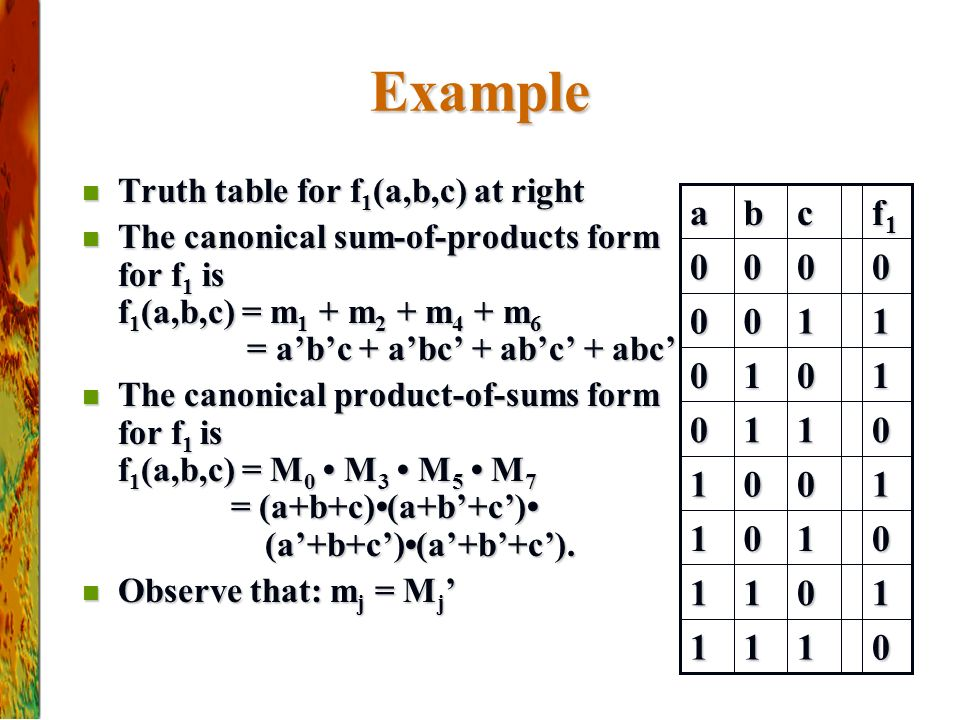 Example Truth table for f1(a,b,c) at right.