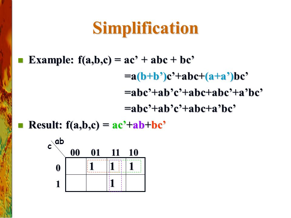 Simplification Example: f(a,b,c) = ac' + abc + bc'