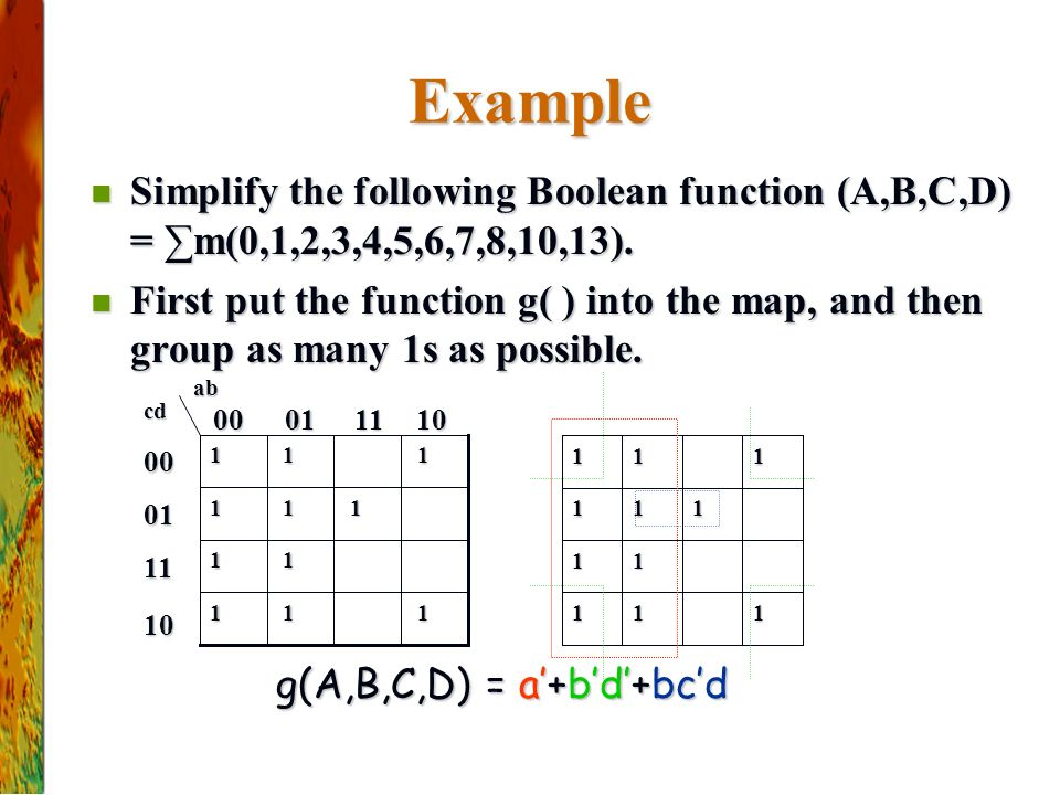 Example Simplify the following Boolean function (A,B,C,D) = ∑m(0,1,2,3,4,5,6,7,8,10,13).
