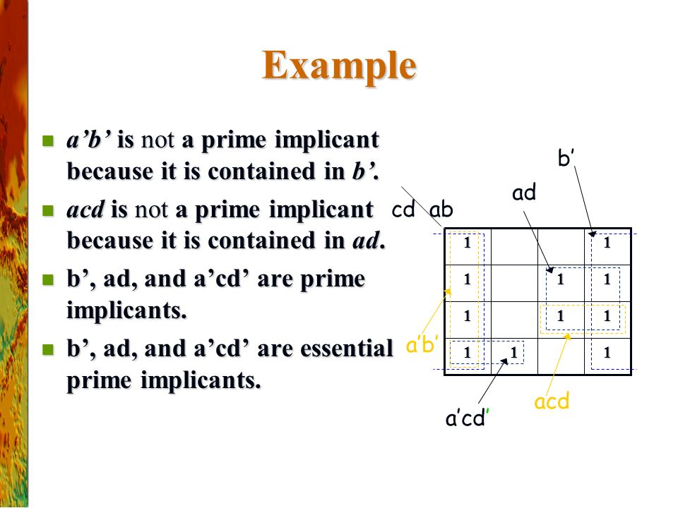 Example a'b' is not a prime implicant because it is contained in b'.