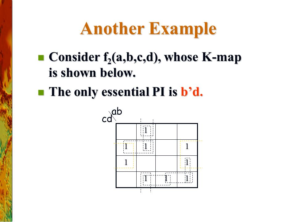 Another Example Consider f2(a,b,c,d), whose K-map is shown below.