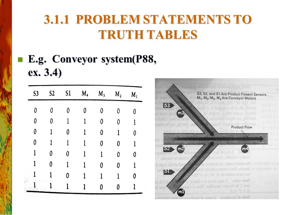 3.1.1 PROBLEM STATEMENTS TO TRUTH TABLES