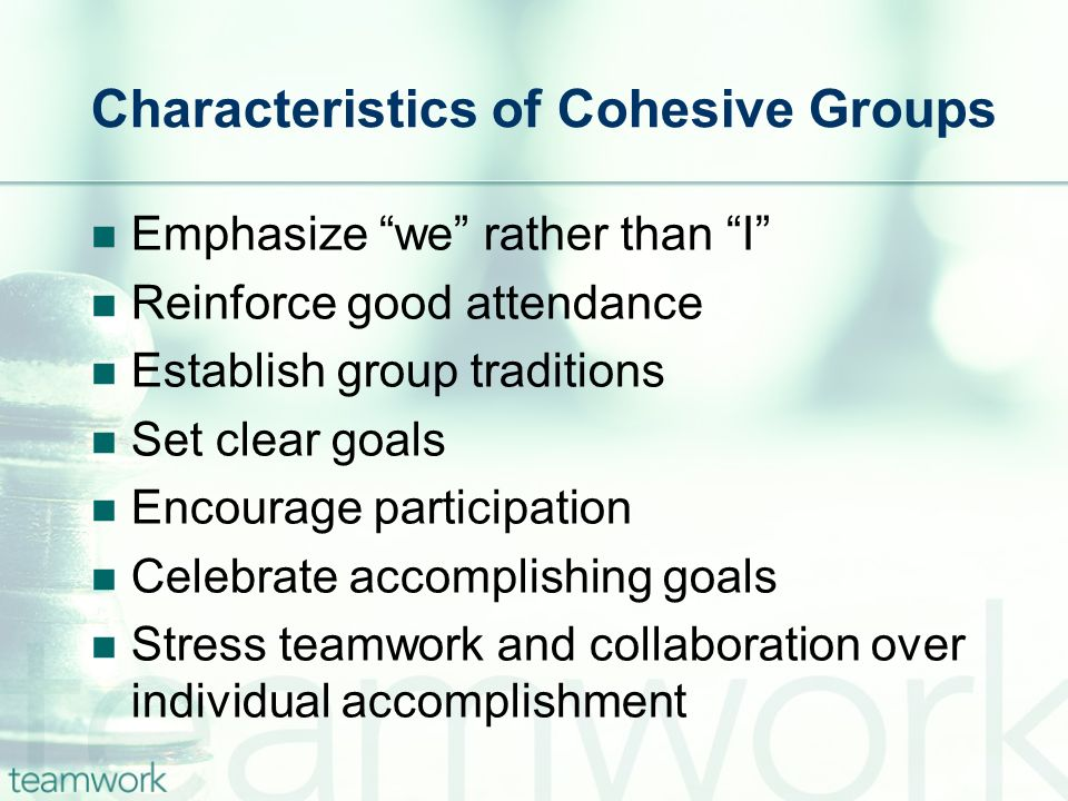 Characteristics of Cohesive Groups