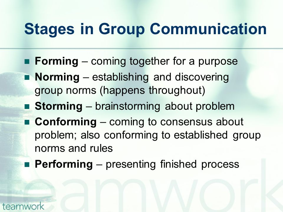 Stages in Group Communication