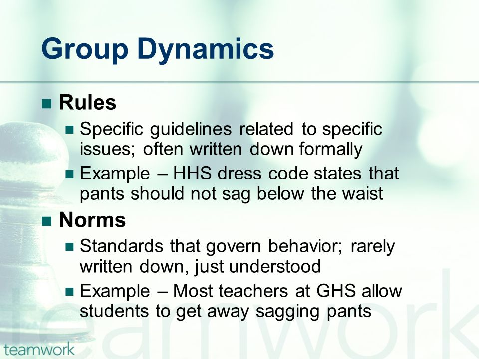 Group Dynamics Rules Norms
