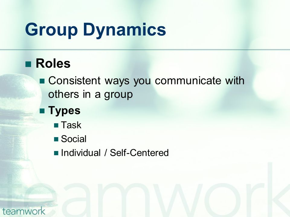 Group Dynamics Roles. Consistent ways you communicate with others in a group. Types. Task. Social.