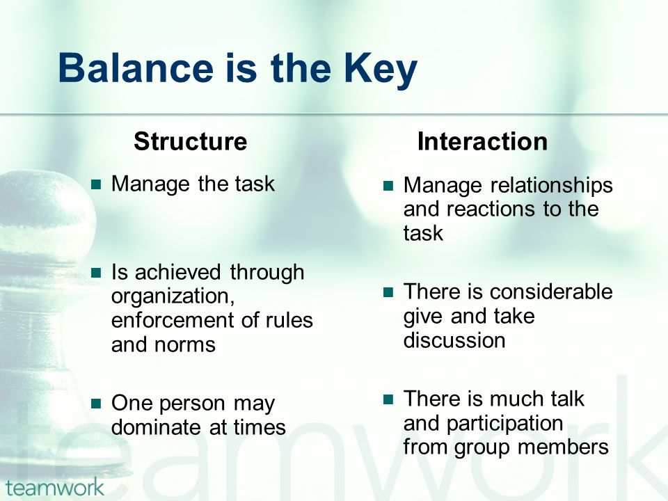 Balance is the Key Structure Interaction Manage the task